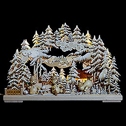 3D Double Arch  -  Snowman's Paradise with White Frost  -  43x30x7cm / 17x12x3 inch