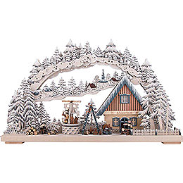 3D Double Arch  -  Workshop with Turning Christmas Pyramid and White Frost 72x43cm / 28x17 inch