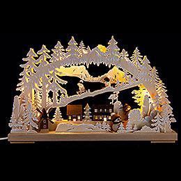 3D - Schwibbogen Winterfreuden mit Raureif  -  40x30cm
