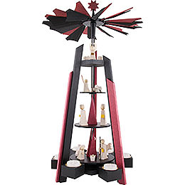 4 - Tier Pyramid  -  for Teacandles with Nativity Scene. Black and Red  -  60cm / 23.62 inch