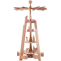 4 - Tier Pyramid  -  for Teacandles with Nativity Scene. Rosewood  -  60cm / 23.62 inch