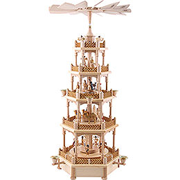 5 - Tier Pyramid  -  Nativity Scene Natural Wood  -  70cm / 28 inch