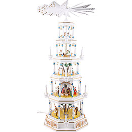 5 - Tier Richard Glässer Christmas Pyramid  -  Romantic  -  White  -  123cm / 48 inch