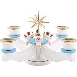 Adventsleuchter weiß/blau mit vier sitzenden Engeln  -  29x29x19cm
