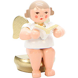 Angel White/Gold Sitting with Book  -  5,5cm / 2 inch