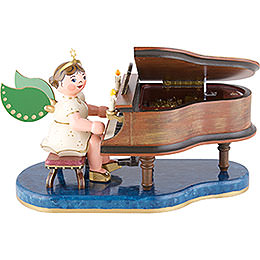 Angel at Piano with Music Box  -  16cm / 6 inch