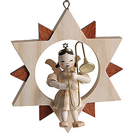Angel in Star with Slide Trombone, Natural  -  9cm / 3.5 inch