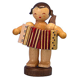 Angel with Accordion  -  Natural Colors  -  Standing  -  6cm / 2,3 inch