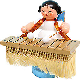 Angel with Bass Xylophone  -  Blue Wings  -  Standing  -  6cm / 2.4 inch