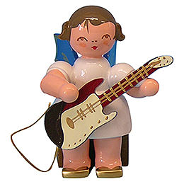Angel with Electric Guitar  -  Blue Wings  -  Sitting  -  5cm / 2 inch