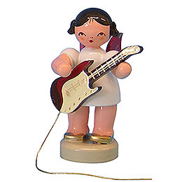 Angel with Electric Guitar  -  Red Wings  -  Standing  -  6cm / 2,3 inch