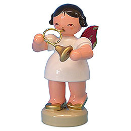 Angel with French Horn  -  Red Wings  -  Standing  -  6cm / 2,3 inch