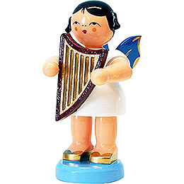 Angel with Lyre  -  Blue Wings  -  Standing  -  9,5cm / 3.7 inch