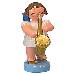 Angel with Saxophone  -  Blue Wings  -  Standing  -  6cm / 2,3 inch
