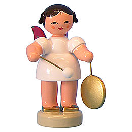 Angel with Small Gong  -  Red Wings  -  Standing  -  6cm / 2,3 inch