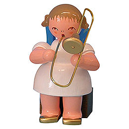 Angel with Trombone  -  Blue Wings  -  Sitting  -  5cm / 2 inch