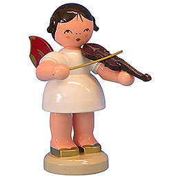 Angel with Violin  -  Red Wings  -  Standing  -  9,5cm / 3,7 inch