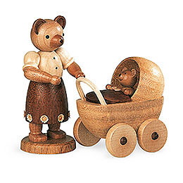 Bärenmutter mit Kinderwagen  -  10cm