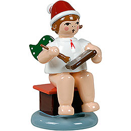 Baker Angel Sitting with Hat and Ginger Bread  -  6,5cm / 2.5 inch