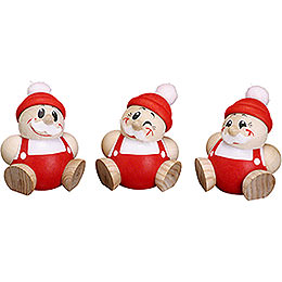 Ball Figures Santa Claus  -  3 pcs.  -  6cm / 2.4 inch