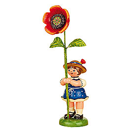 Blumenkind Mädchen mit Mohnblume  -  11cm