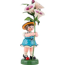 Blumenkind Mädchen mit Stockrose  -  24cm