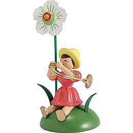 Blumenkind mit Christrose und Waldhorn sitzend  -  12cm