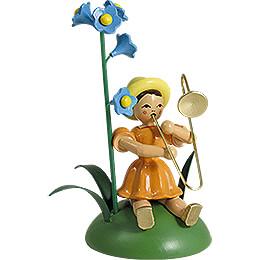 Blumenkind mit Vergissmeinnicht und Zugposaune, sitzend  -  11cm