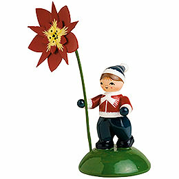 Boy with Poinsettia  -  6cm / 2.4 inch