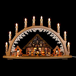 Candle Arch  -  Ore Mountain House with Winter Children  -  66x43cm / 26x16.9 inch
