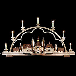 Candle Arch  -  Seiffen Village Natural Wood, 120V  -  80x15x43cm / 31.5x6x17 inch