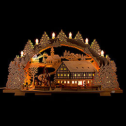 Candle Arch  -  Snowy Market Café with Turning Pyramid  -  72x43cm / 28.3x16.9 inch