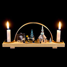 Candle Arch Winter Village Seiffen with Carolers -  24x12cm / 9.4x4.7 inch