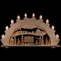"""Candle Arch  -  """"Winter Wonder Land"""" with Smoking Hut  -  LED  -  66x39,6x11,5cm / 2 inch"""