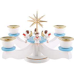 Candle Holder  -  Advent Blue/White with Sitting Angels  -  29x29x19cm / 11.5x11.5x7 inch