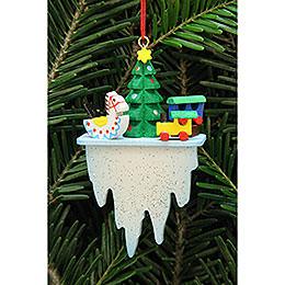 Christbaumschmuck Baum mit Spielzeug auf Eiszapfen  -  4,5x7,8cm