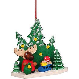 Christbaumschmuck Elch Weihnachtsmann im Wald  -  8,6cm