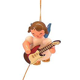 Christbaumschmuck Engel mit E - Gitarre  -  Blaue Flügel  -  schwebend  -  5,5cm