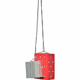 "Christbaumschmuck ""Pakete rot/silber""  -  4cm"