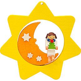 Christbaumschmuck Sternen - Mond - Engel mit Baum  -  8cm