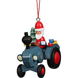Christbaumschmuck Traktor mit Weihnachtsmann  -  5,7x5,6cm
