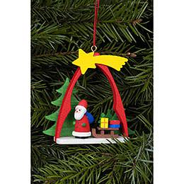 Christbaumschmuck Weihnachtsmann im Bogen  -  7,4x6,3cm