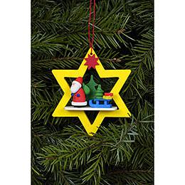 Christbaumschmuck Weihnachtsmann im gelben Stern  -  6,8x7,8cm