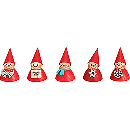 Christmas - Teeter, Set of Five, 4cm / 1.6 inch