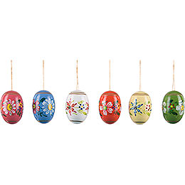 Easter Egg Set with Flowers  -  5,5cm / 2.2 inch