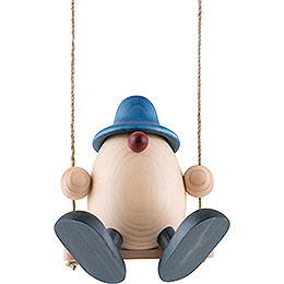 Egghead Father Bruno on Swing, Blue  -  15cm / 5.9 inch