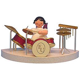 Engel am Schlagzeug passend zu Wolkenstecksystem  -  Rote Flügel  -  stehend  -  6cm