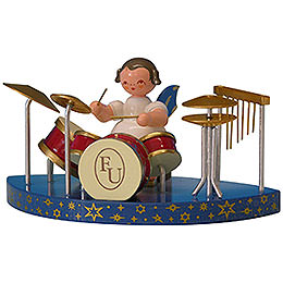 Engel am Schlagzeug passend zu einfachen Wolken  -  Blaue Flügel  -  stehend  -  6cm