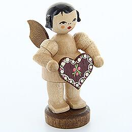 Engel mit Lebkuchenherz  -  natur  -  stehend  -  6cm
