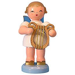 Engel mit Leier  -  Blaue Flügel  -  stehend  -  9,5cm